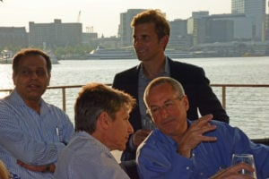 Pictured (LtoR) Dr. Awny Farajallah, New Jersey-based infectious disease physician; Dr. Drew Pardoll, Johns Hopkins School of Medicine cancer researcher; Nils Lonberg, Bristol-Myers Squibb head of oncology drug discovery; and Dr. Brian Lamon, New Jersey-based research lead