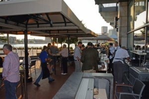 "Guests enjoyed their ""rye and roast"" as they were entertained by a beautiful sunset over Baltimore's Inner Harbor."